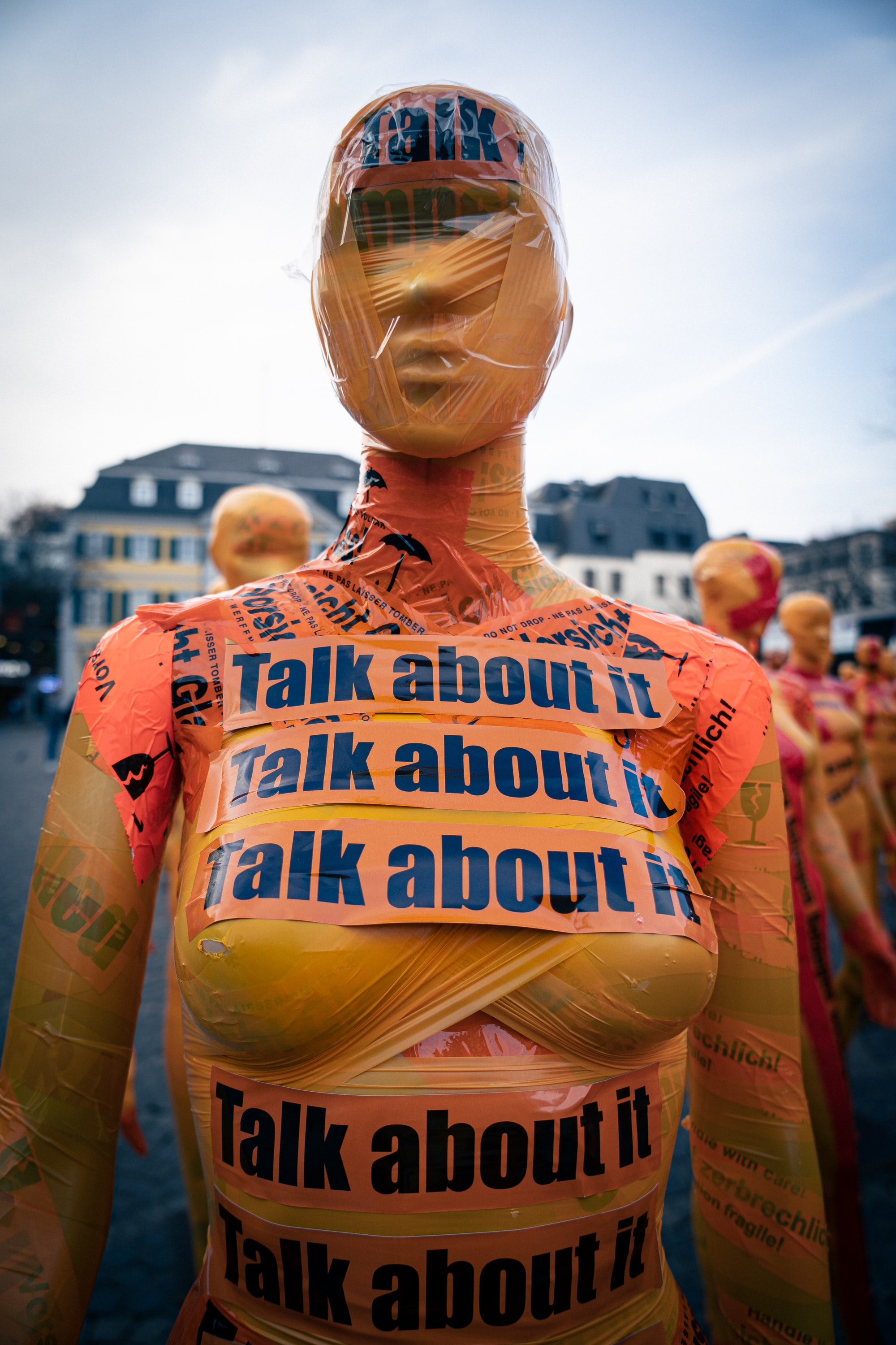 Talk about it - November 25 is the international day against domestic violence. This photo was taken in Bonn, displaying the work of an artist.