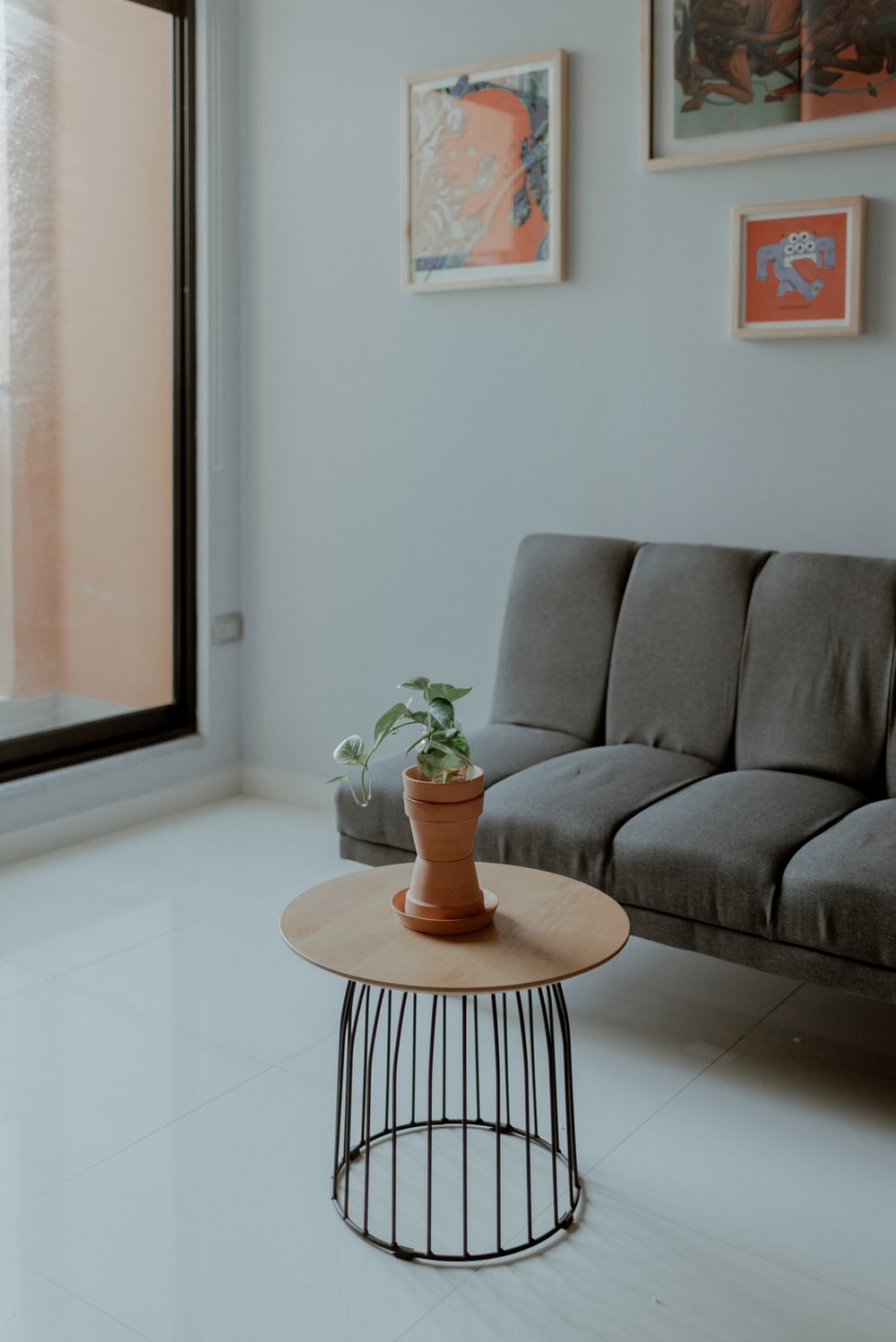 green plant on brown wooden round table