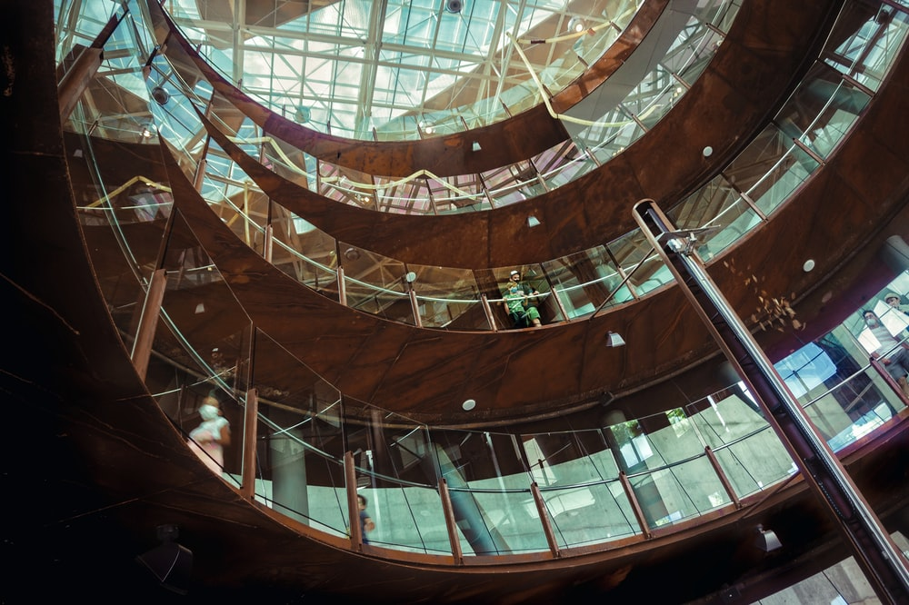 brown and black spiral staircase