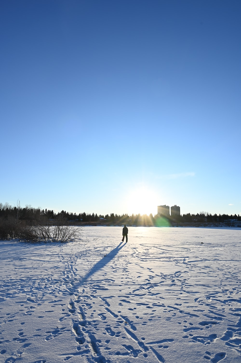 person standing on snow covered ground during daytime