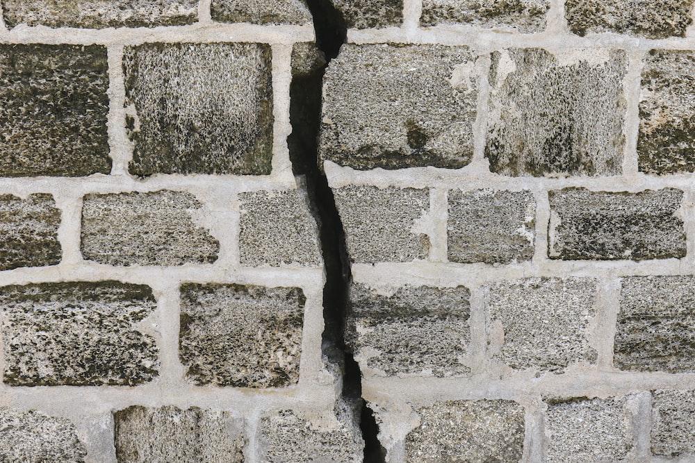 white and gray brick wall