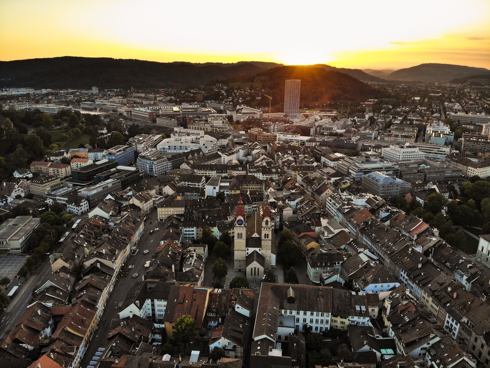 aerial view of city during sunset