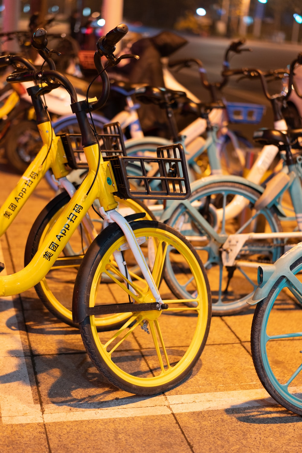 yellow and blue city bikes