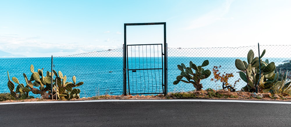 blue metal fence on gray concrete road