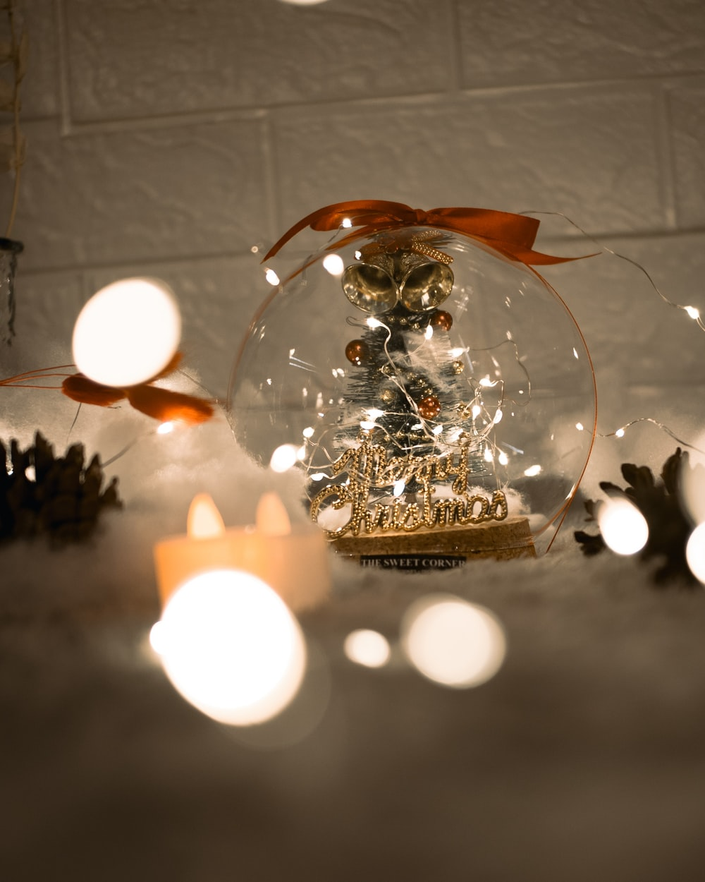 clear glass ball with string lights