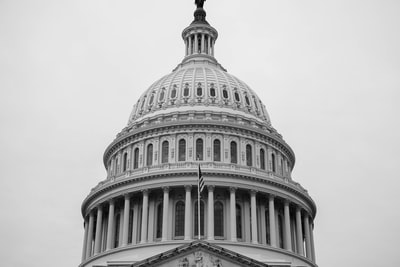 grayscale photo of concrete building constitution zoom background
