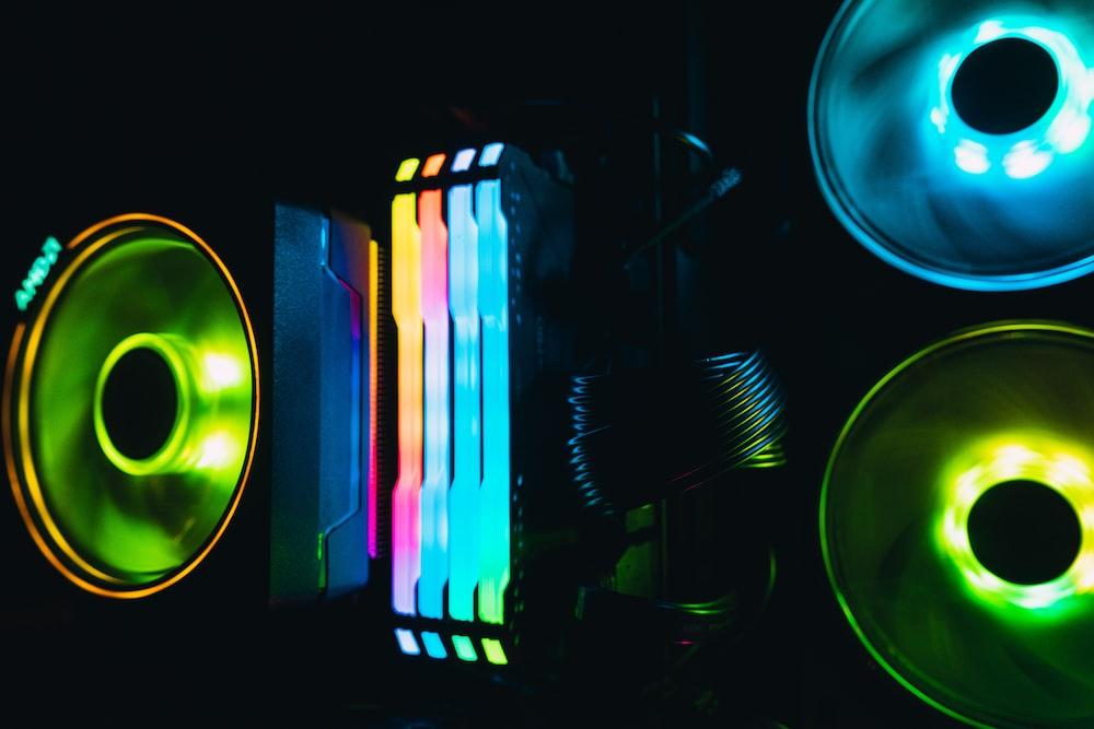 purple green and blue light