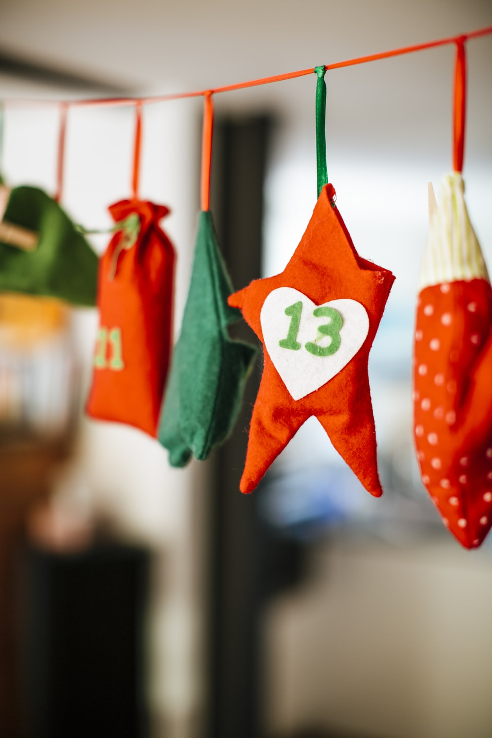 green and red star hanging decor