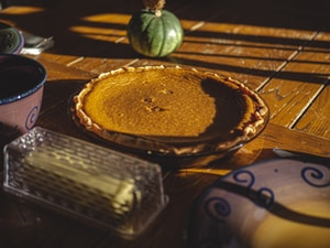 Pumpkin pie on the farmtable