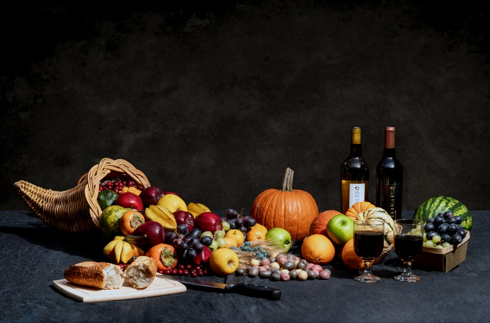 pumpkin and bottles on table