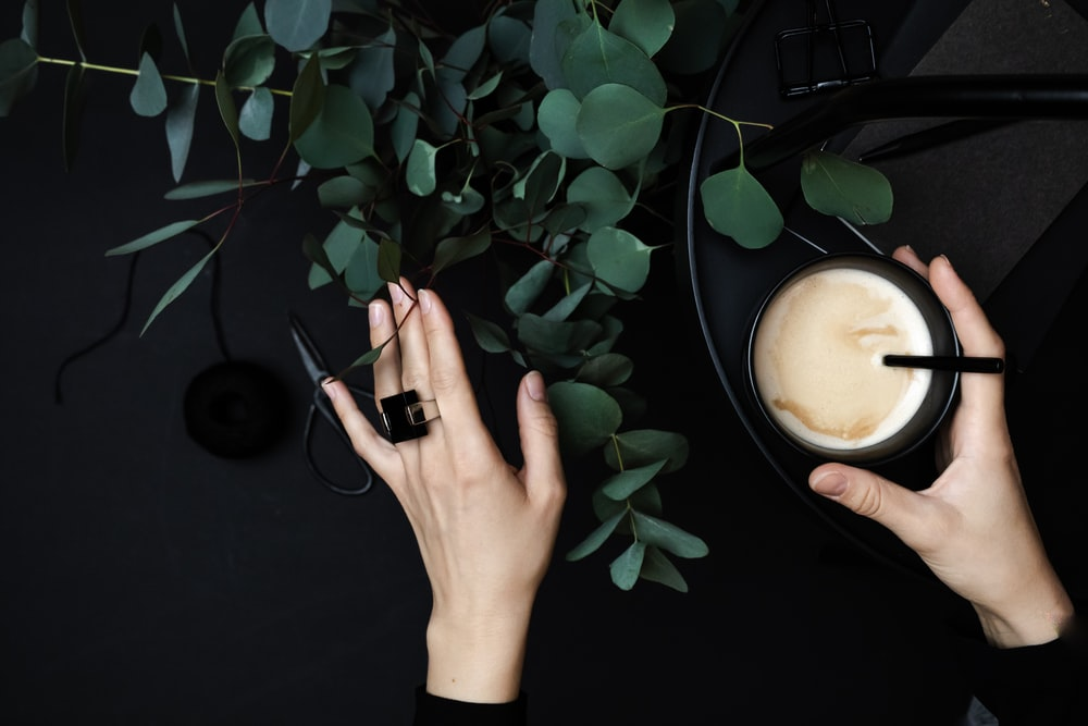 person wearing silver ring holding green plant
