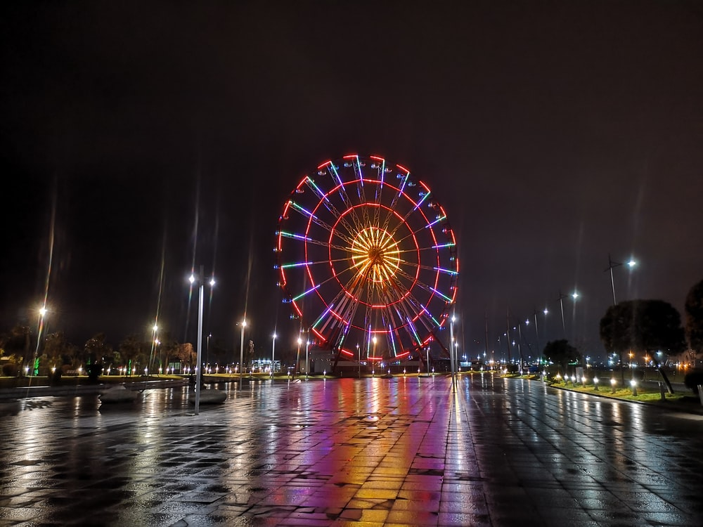 red and white ferris wheel during night time