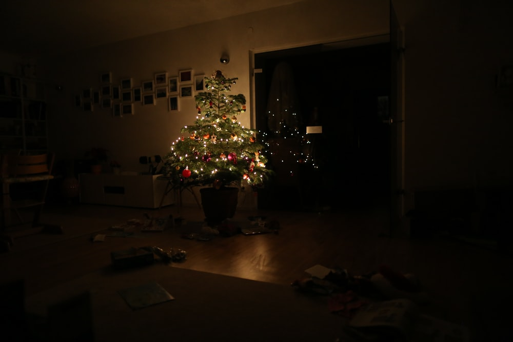 green christmas tree with string lights turned on in room