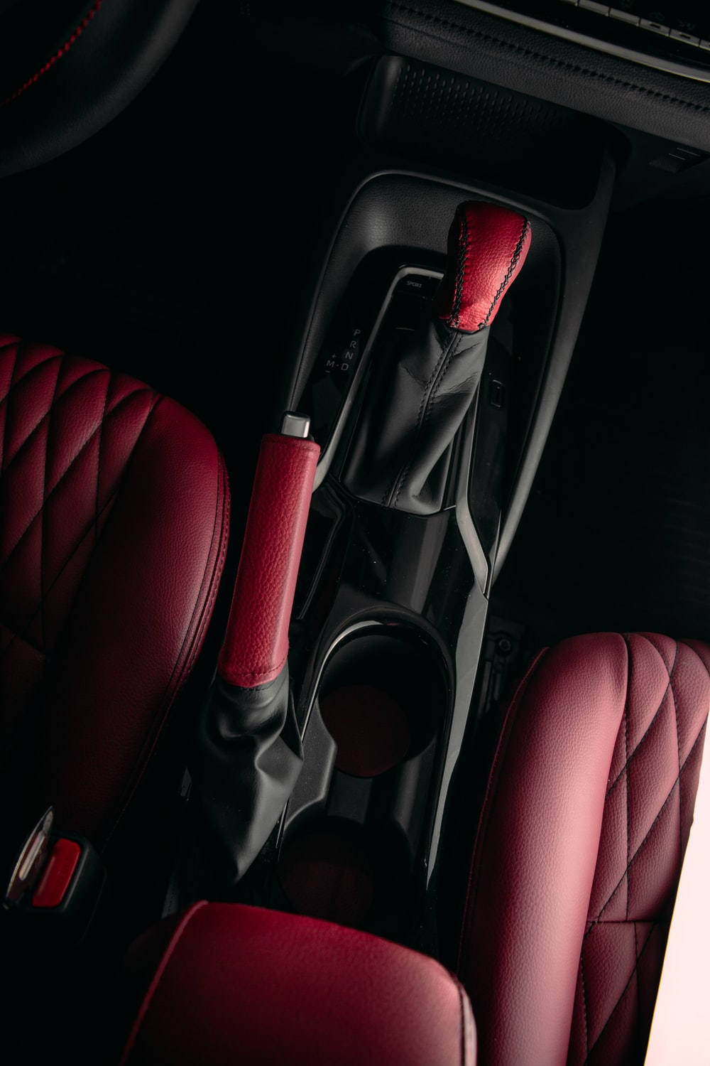 red and black car seat