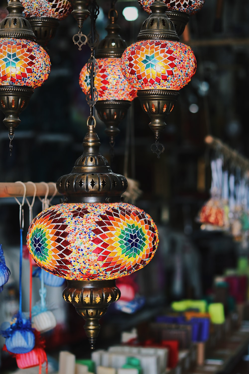 red and yellow floral pendant lamp