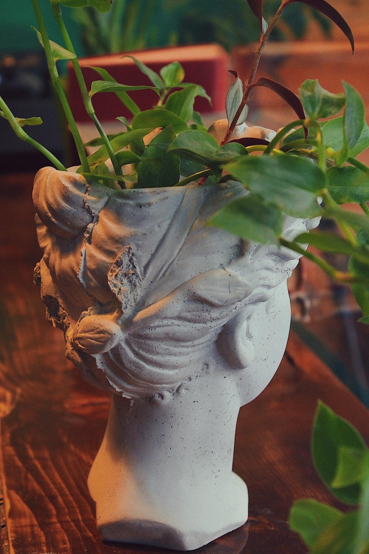 white ceramic flower vase with green leaves