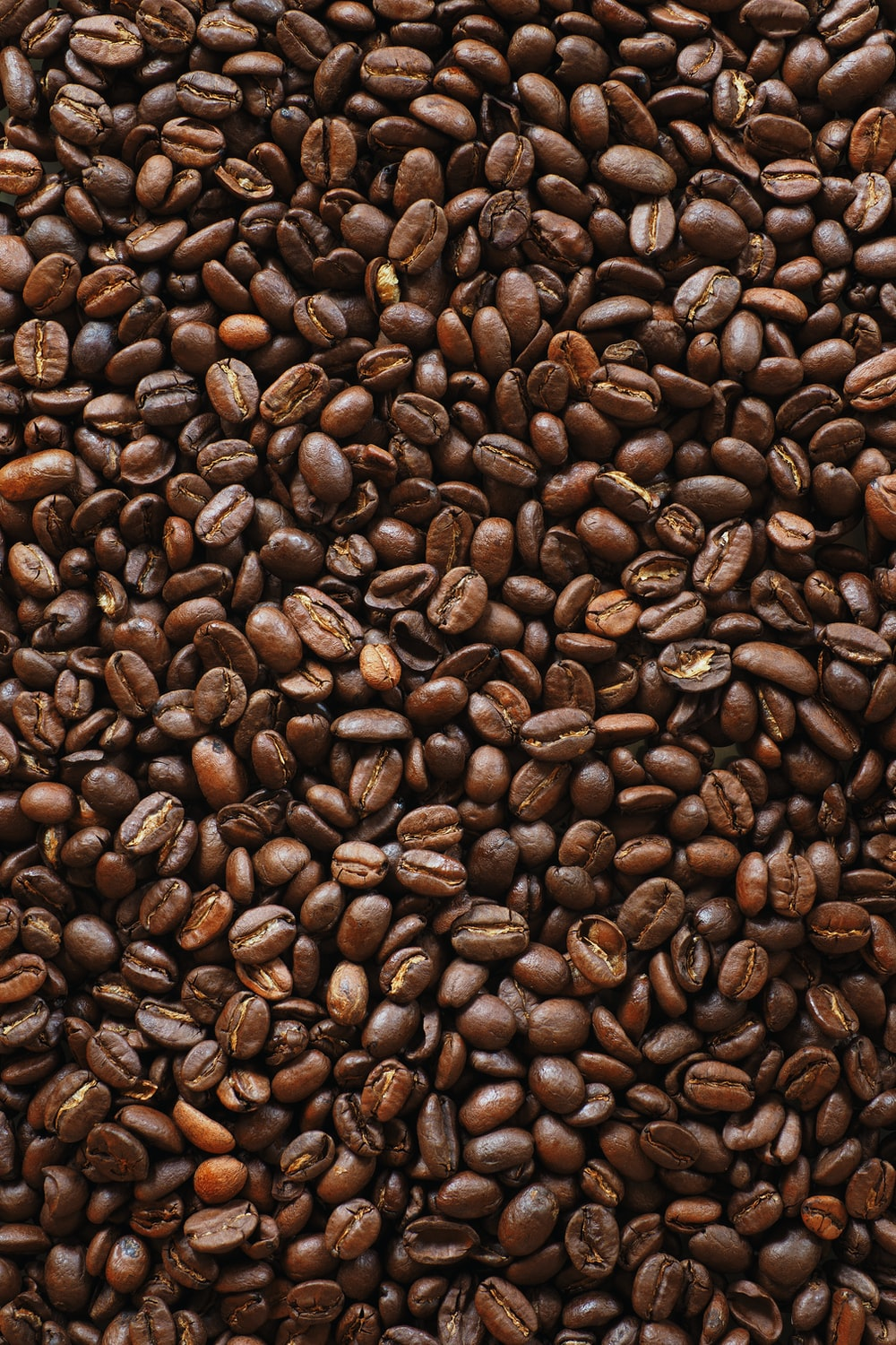 brown coffee beans on black surface