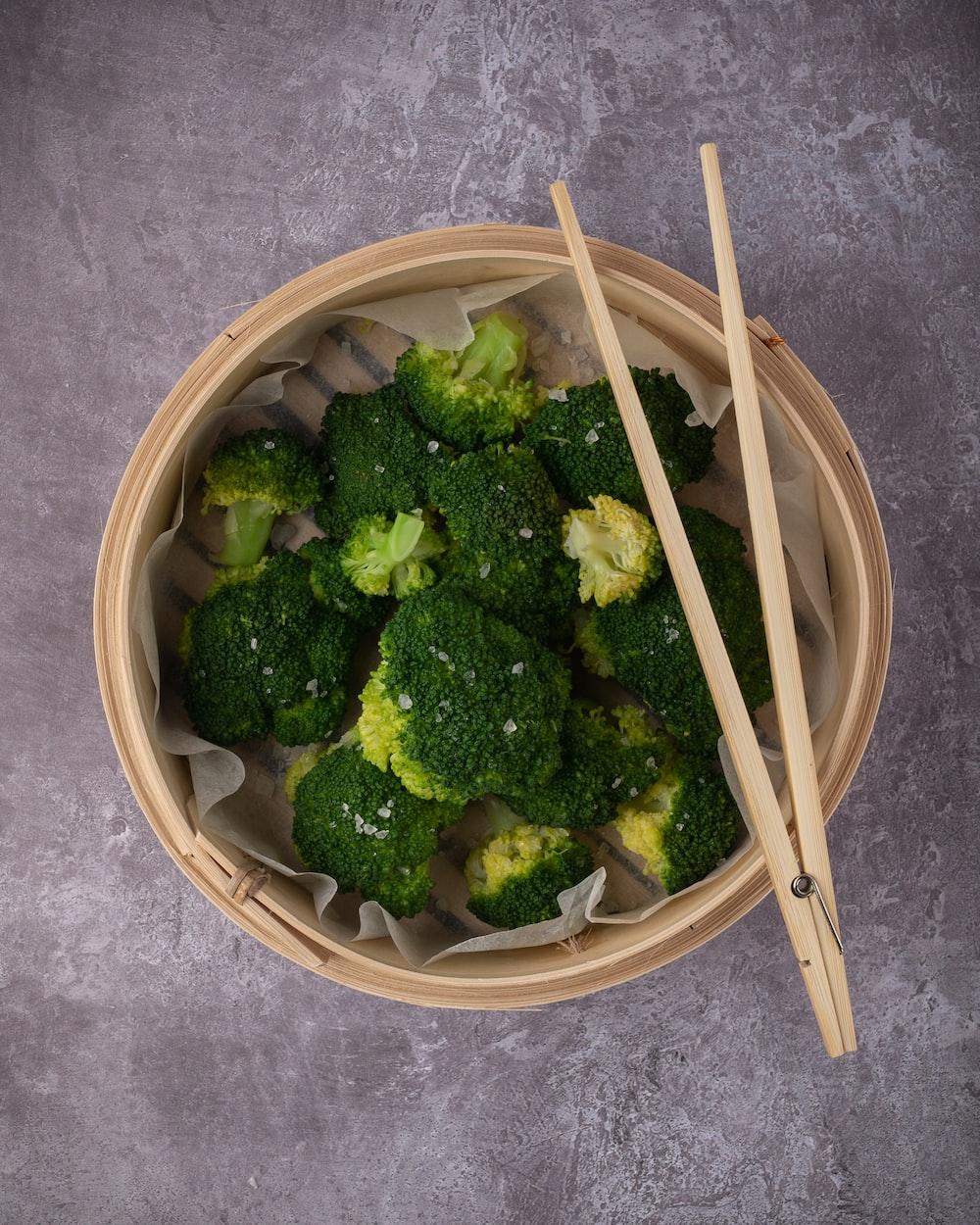 green broccoli in white round ceramic bowl