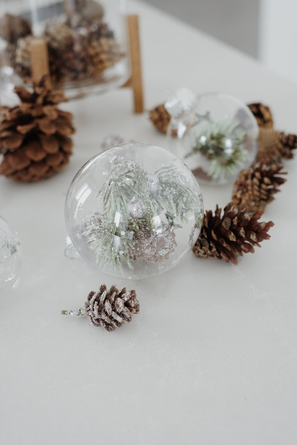 clear glass ball on white table
