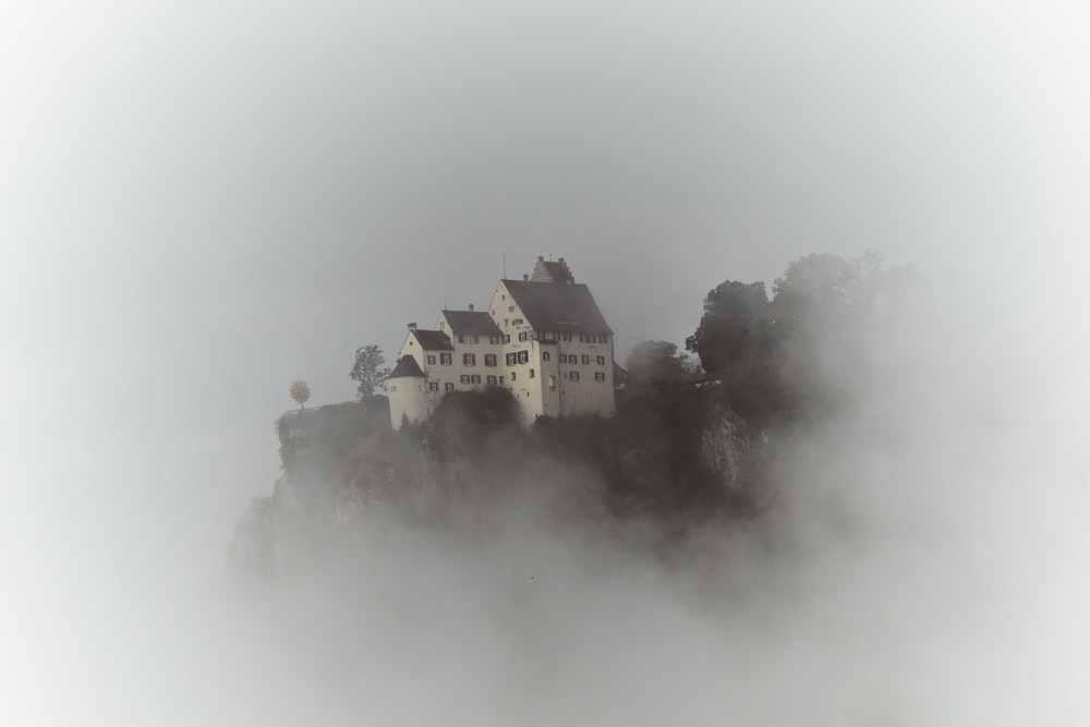 green and white castle covered with fog