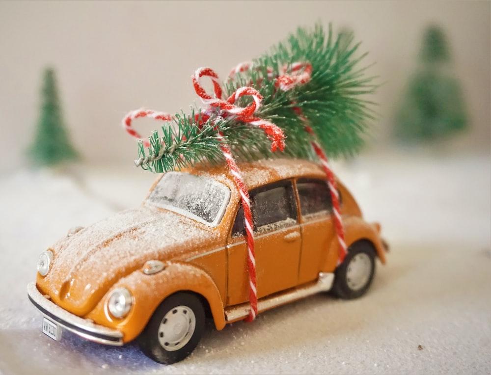 orange volkswagen beetle on road during daytime