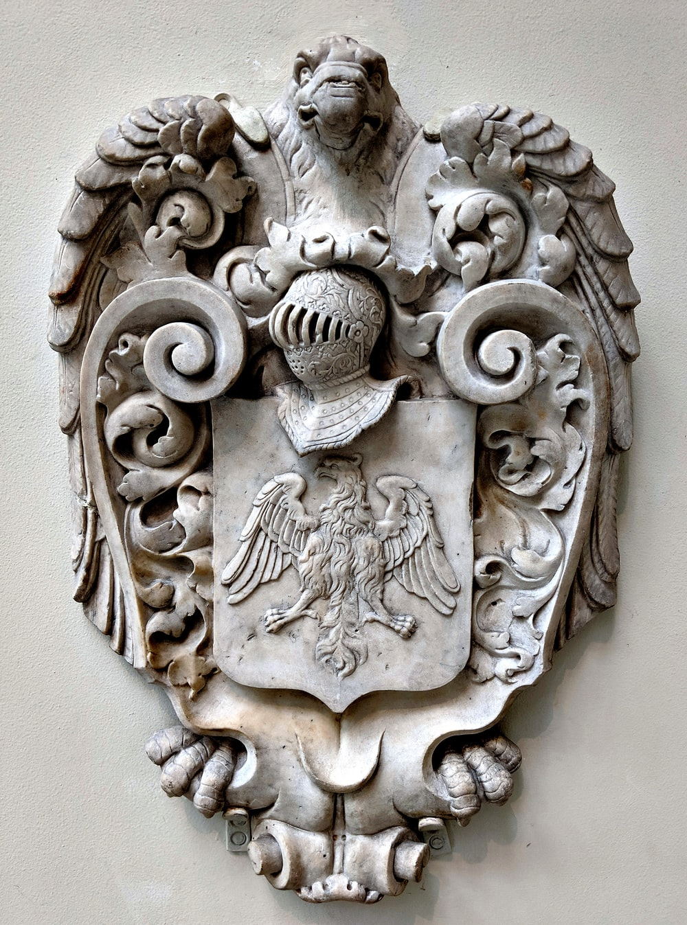 grey lion embossed wall decor