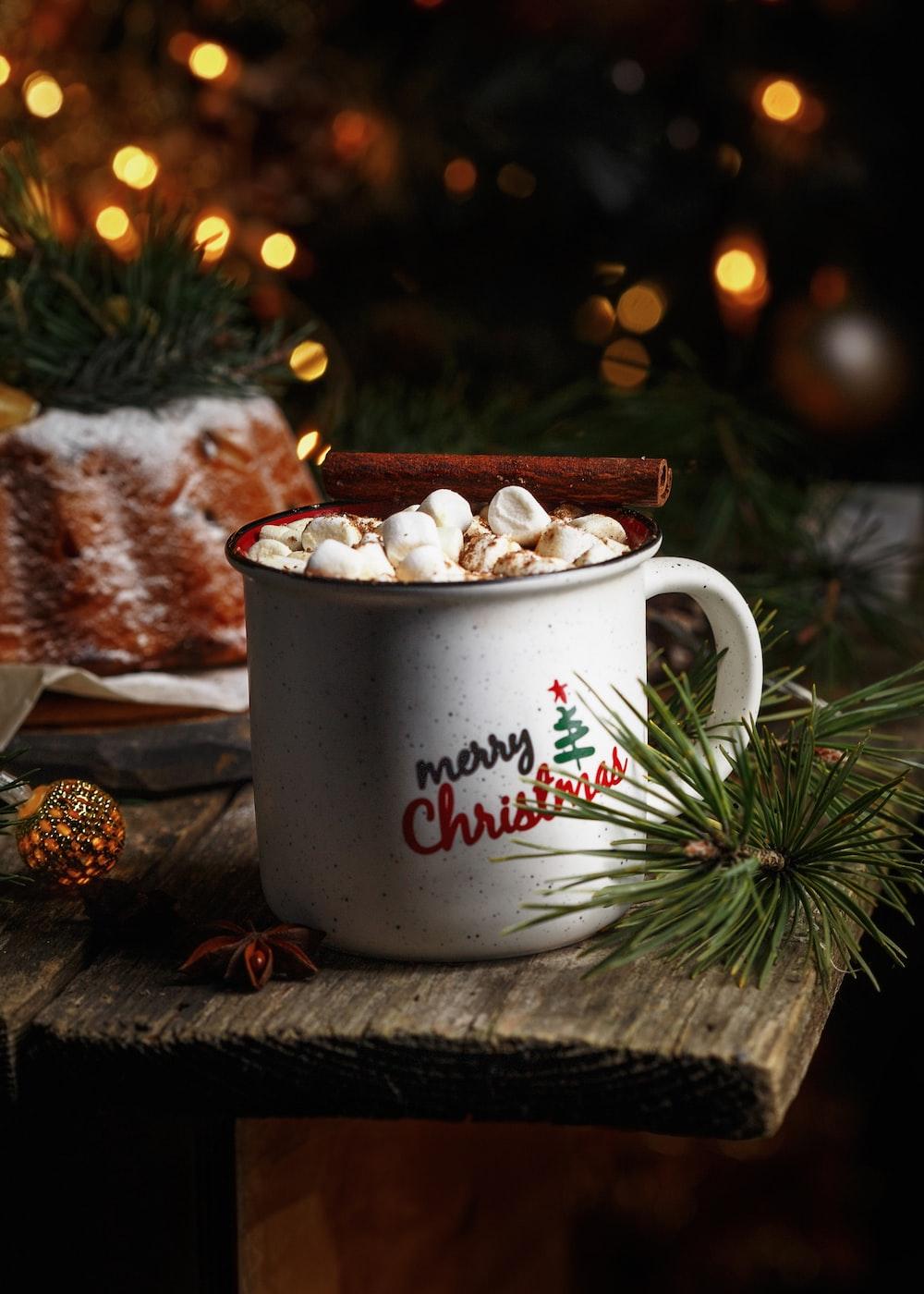 white ceramic mug with happy new year print