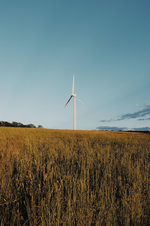 white wind turbine on brown grass field under blue sky during daytime