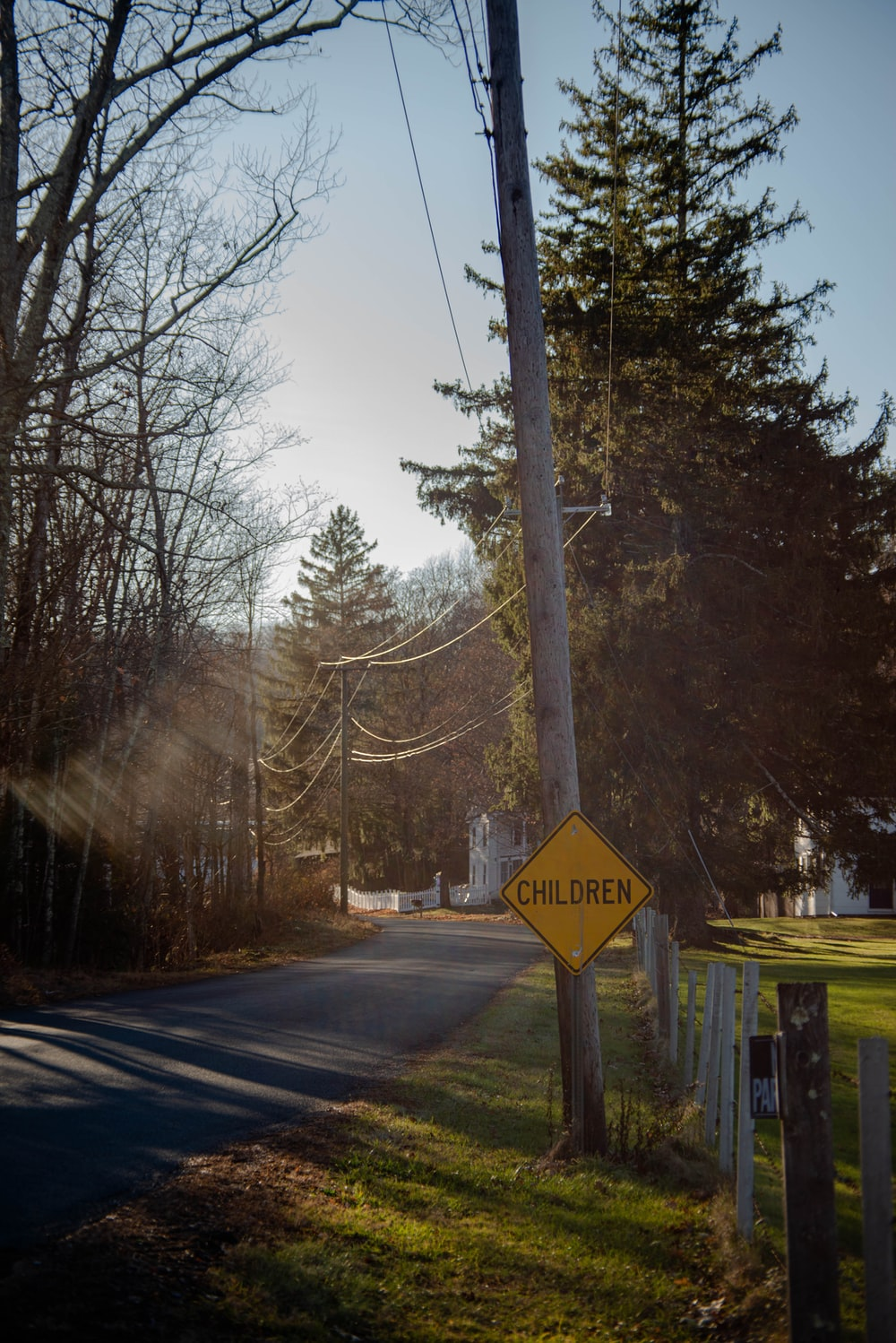 road sign near bare trees during daytime