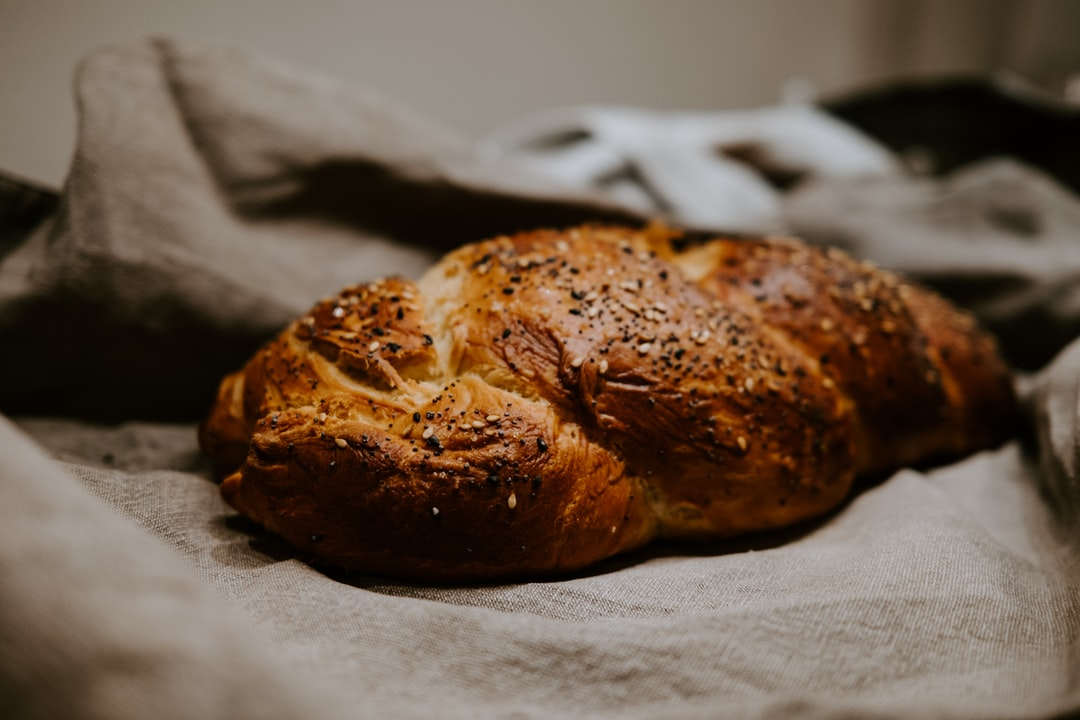 brown bread on white paper