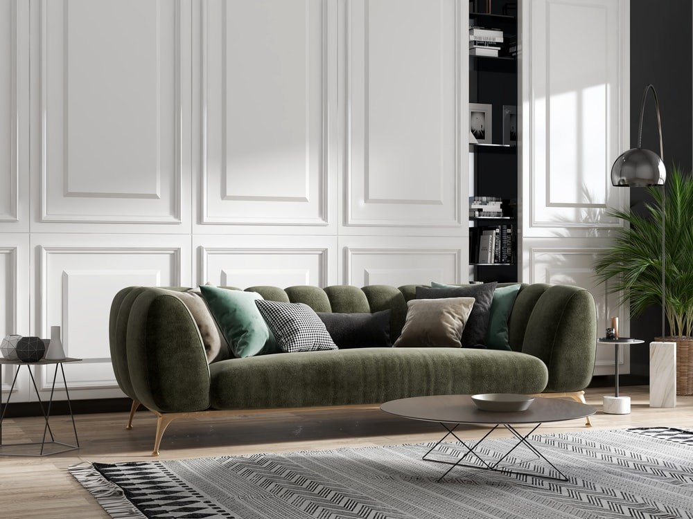 green and brown sofa chair