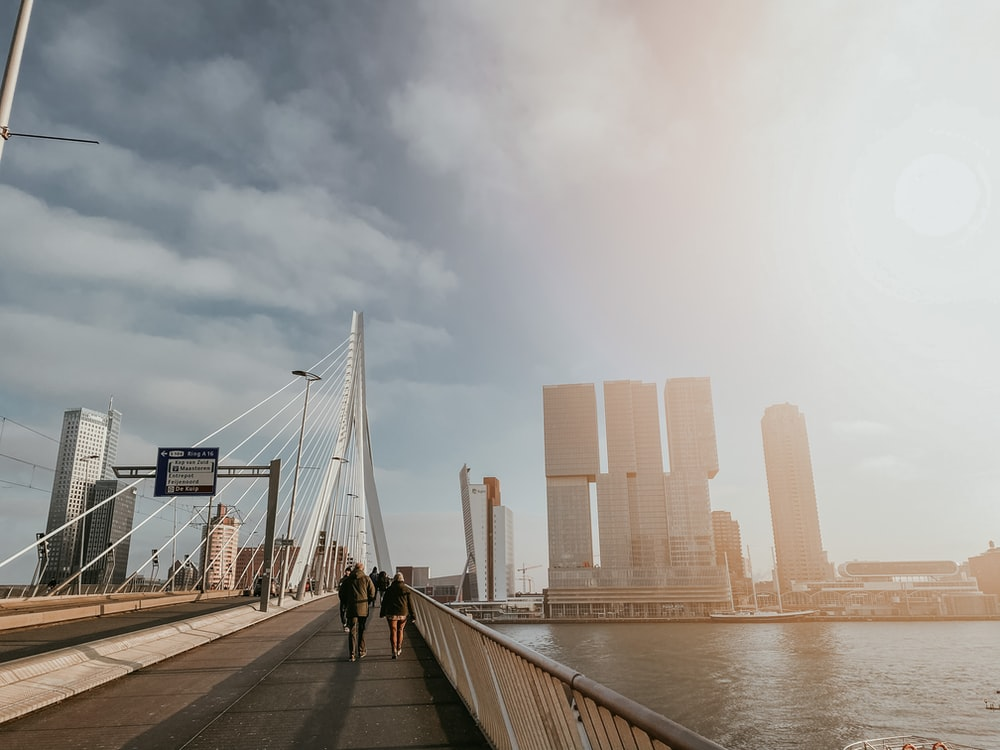people walking on wooden dock near city buildings during daytime