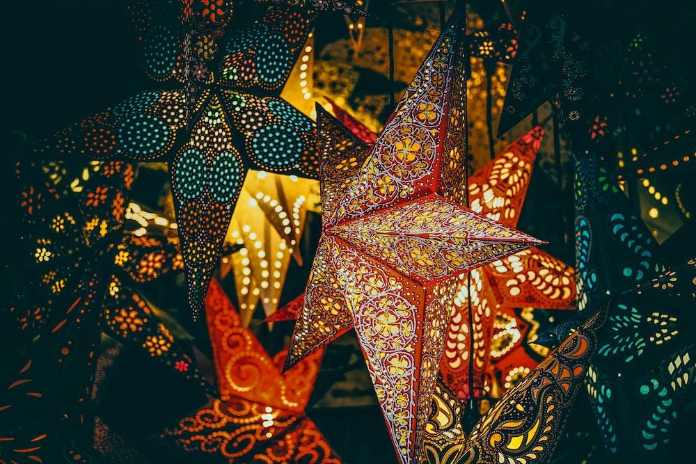 orange and black star decor