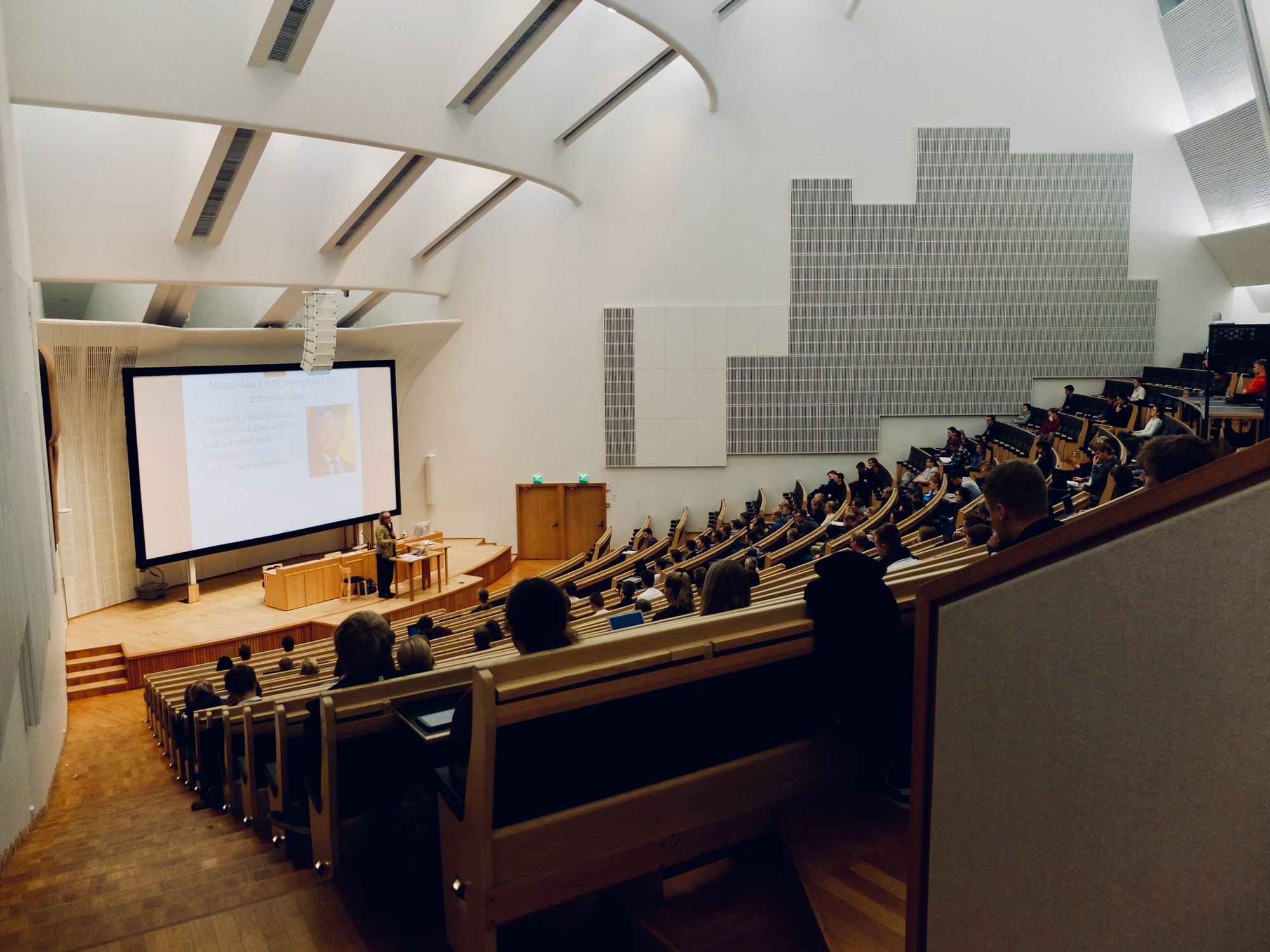 Students in a class at Aalto University in Espoo, Finland.