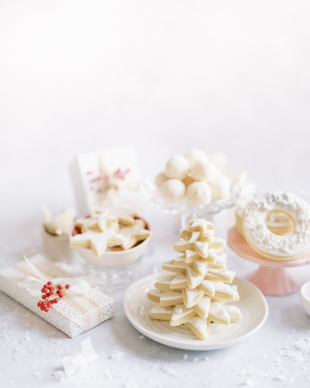 white and brown cupcakes on white ceramic plate