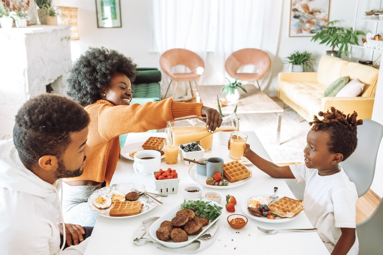 A family eating