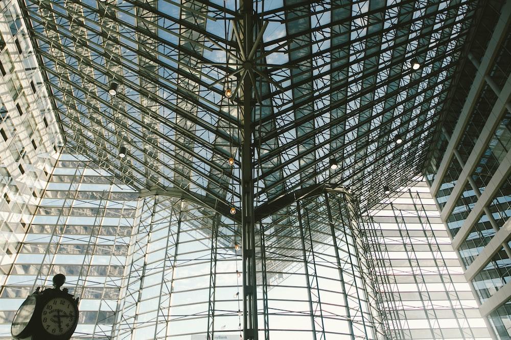 black metal frame glass roof