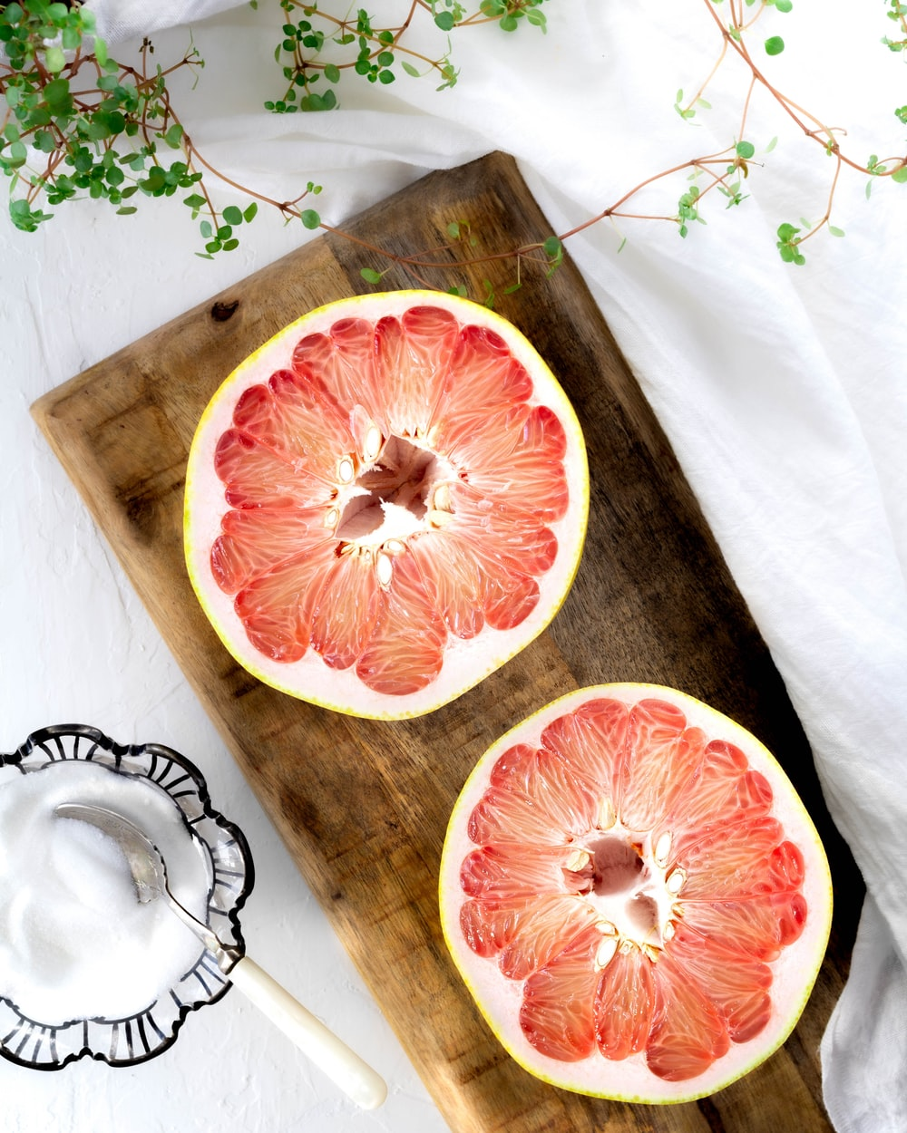 orange and white floral table cloth