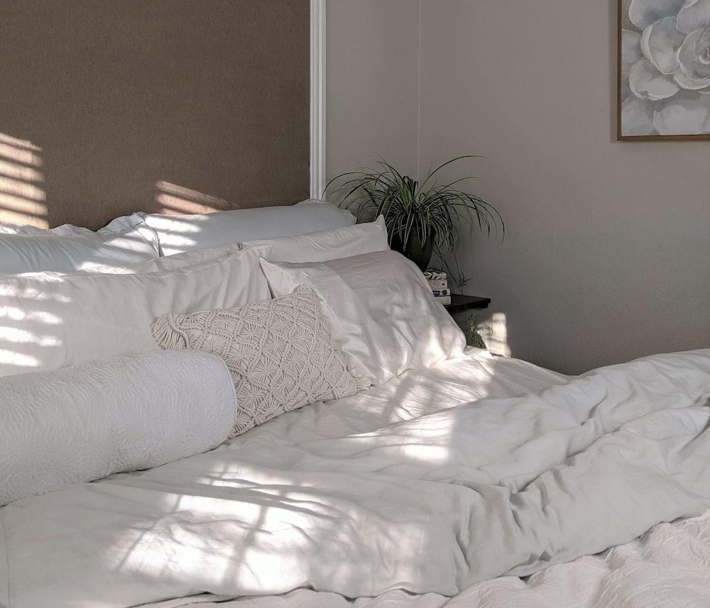 white bed linen near green plant