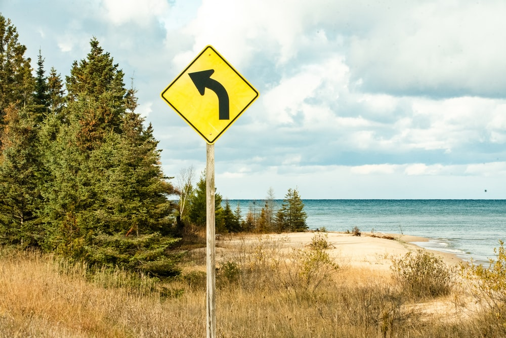 blue and white arrow sign near green trees and body of water during daytime