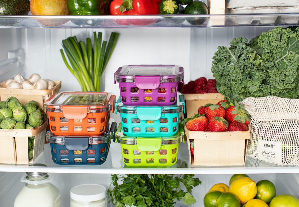 green and pink plastic container