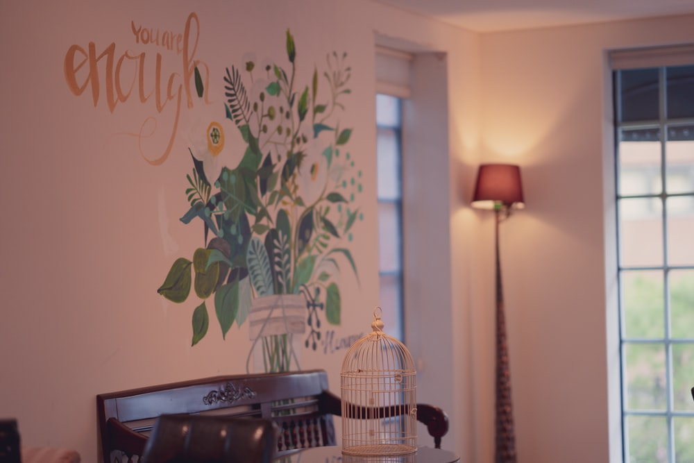 white and green floral wall