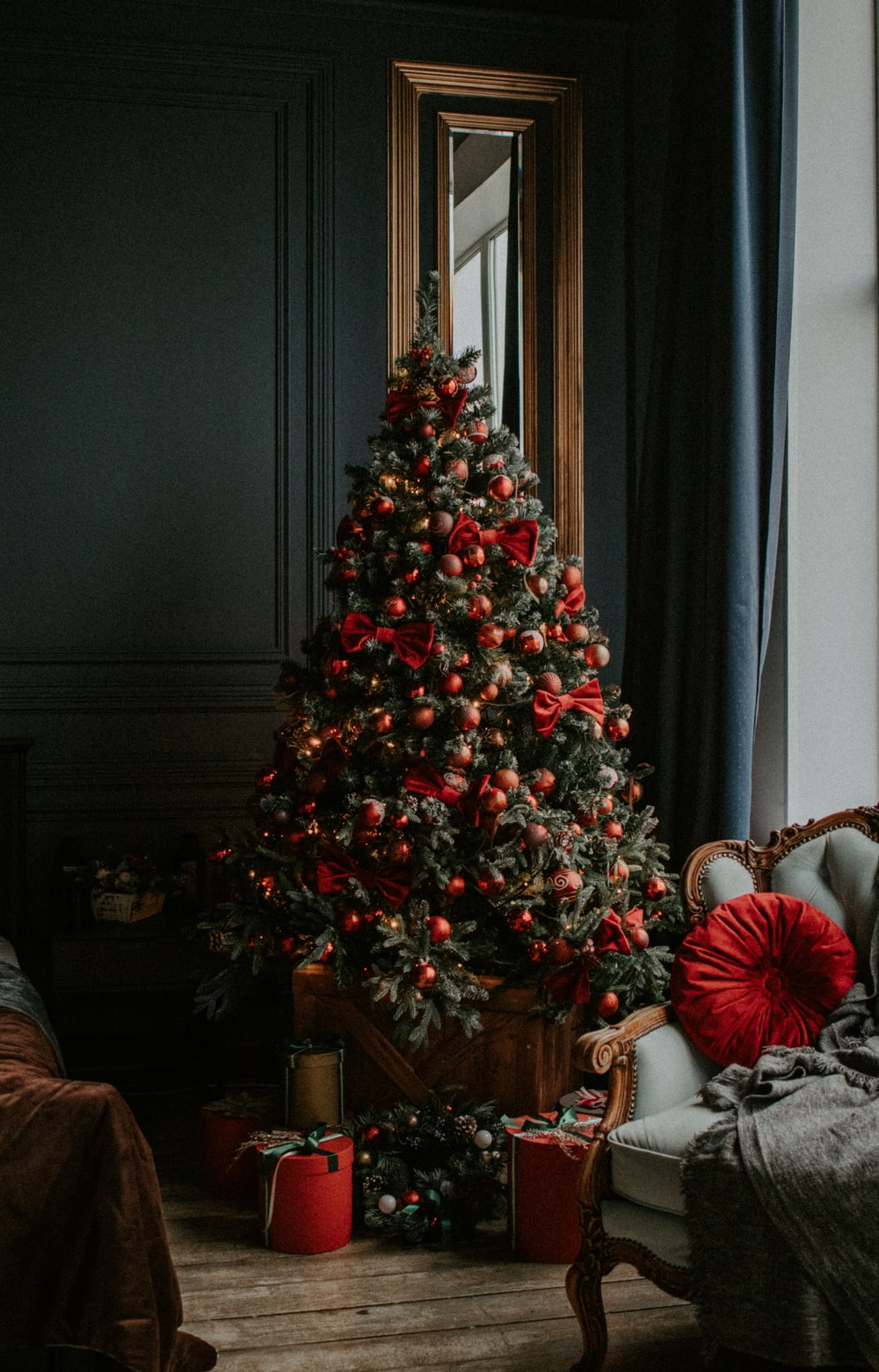 green christmas tree with red baubles