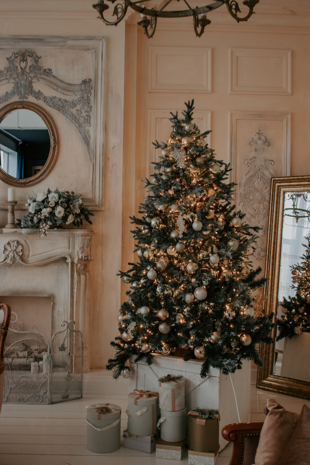 green christmas tree with gold baubles