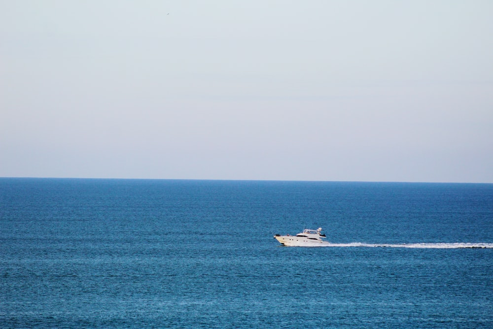white and black boat on sea during daytime