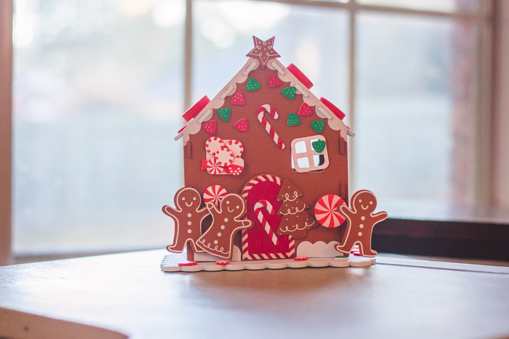 red and white polka dot house miniature