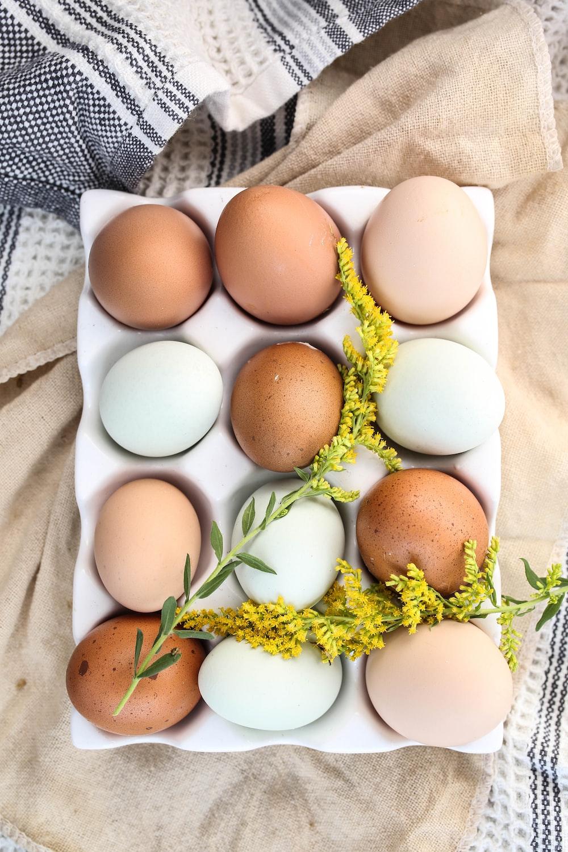 white egg on brown egg tray