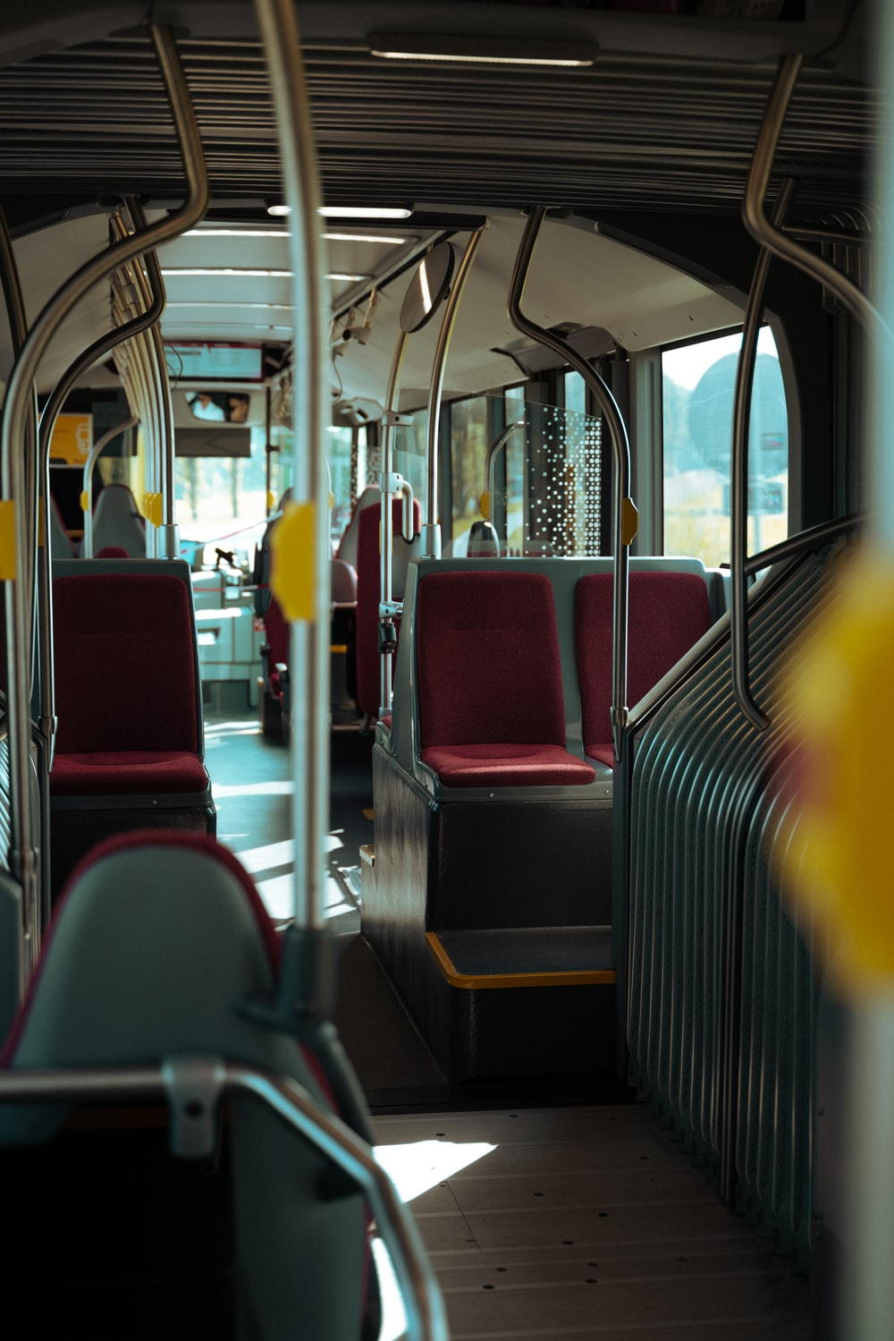 red and black train seats