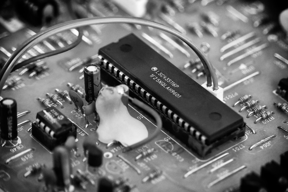 black and white computer motherboard