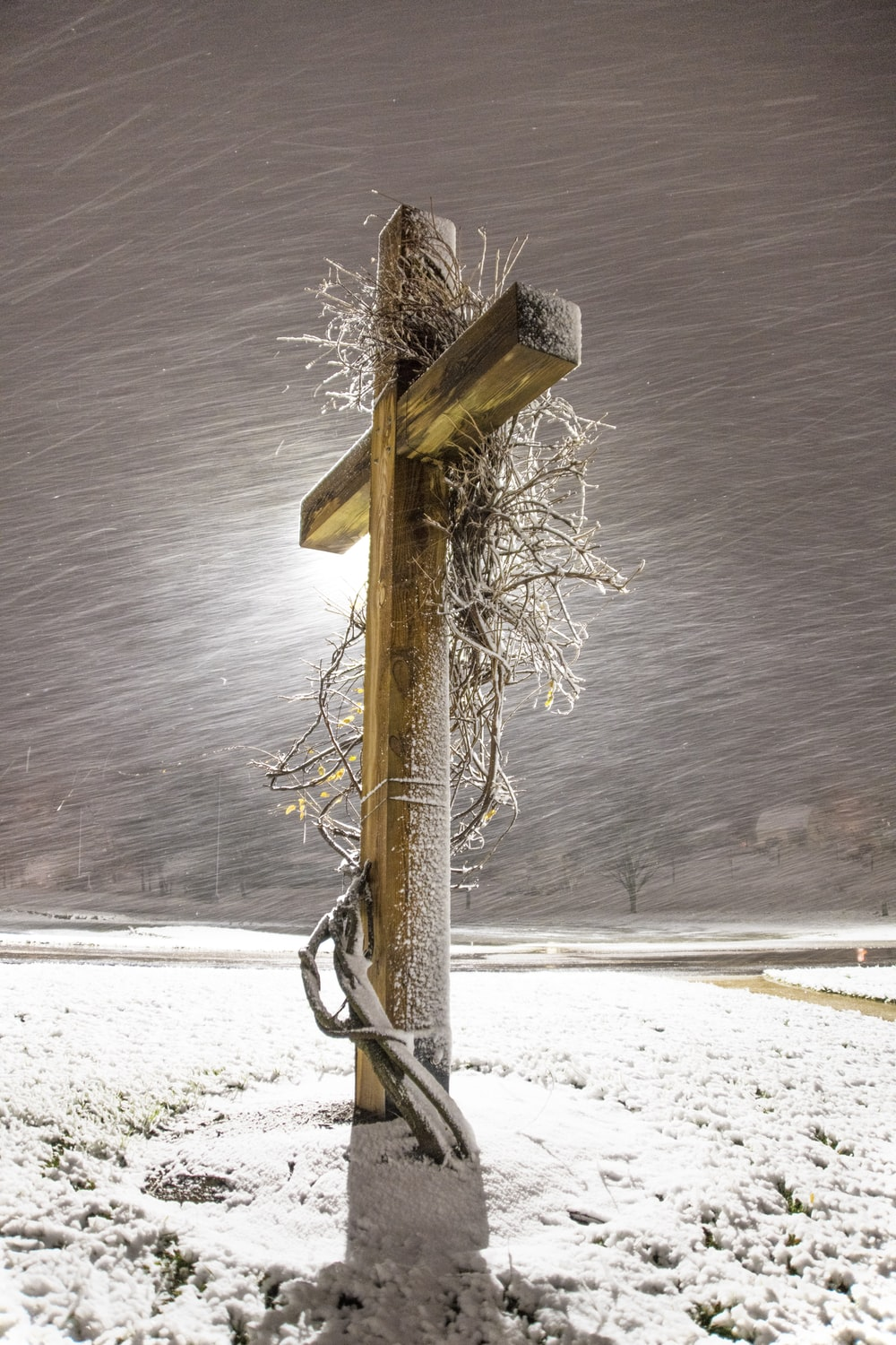 brown wooden post on snow covered ground